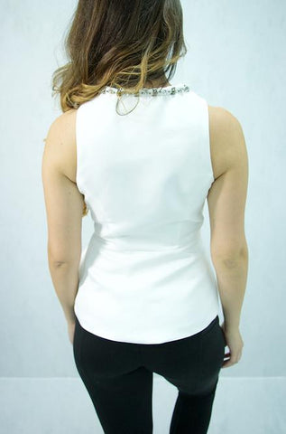 Mustard Seed - Sleeveless Top with Beaded Neck Design in White - Cimiche