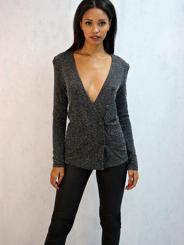 Wyldr - Warning Blazer in Black and Silver Metallic Fabric - Cimiche