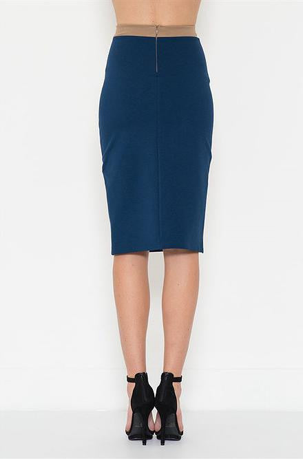 Solemio - Gucci Blue and Mocha Ponte Pencil Skirt - Cimiche