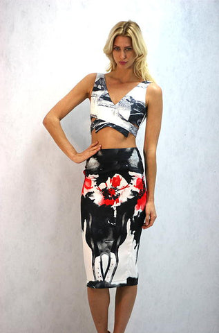 Black and White Crop Top by L'atiste - Cimiche