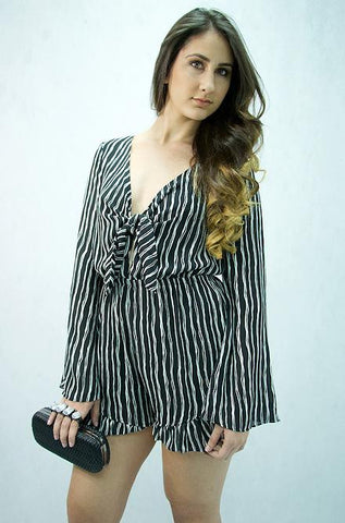 Mustard Seed - Long Sleeve Black & White Striped Romper - Cimiche
