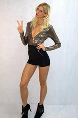 Privy - Long Sleeve Black Romper with Sequin Gold Top - Cimiche