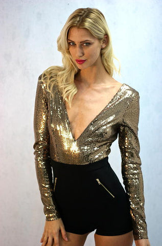 Black & Gold Sequin Romper by Privy - Cimiche