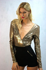 Black & Gold Sequin Romper - Cimiche