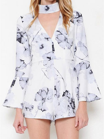L'atiste - Long Sleeve White and Lilac Flower Romper - Cimiche