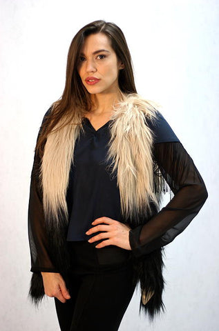 Skies Are Blue - Beige to Black Ombre Faux Fur Vest - Cimiche