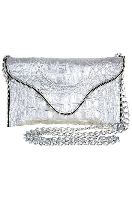 JJ Winters Brooke Crossbody Silver Purse - Cimiche