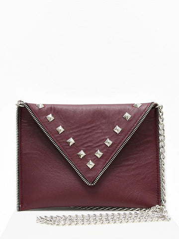 JJ Winters Andi Wine Leather Silver Studs Purse - Cimiche
