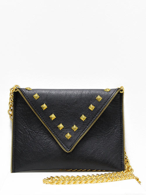 JJ Winters Andi Black Leather Gold Studs Purse