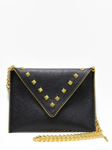JJ Winters Andi Black Leather Gold Studs Purse - Cimiche