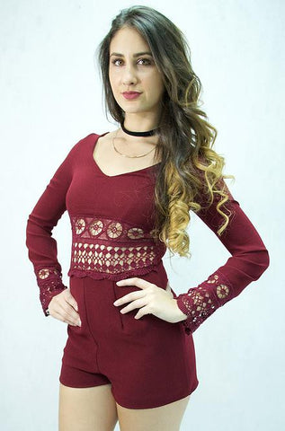 Solemio  Long Sleeve Romper in Wine - Cimiche