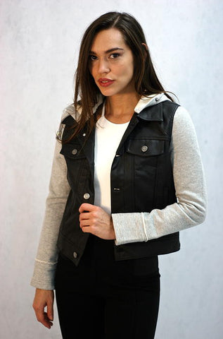Solemio - Faux Leather Black Moto Jacket with Grey Sleeves - Cimiche