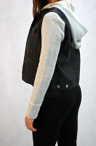 Solemio  Faux Leather Black Biker Jacket with Grey Sleeves - Cimiche
