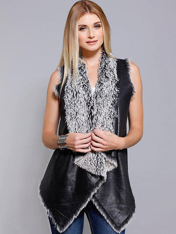 Dolce Cabo Black Vest with Fur - Cimiche