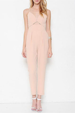 L'atiste - Sleeveless V-Neck Jumpsuit in Peach - Cimiche