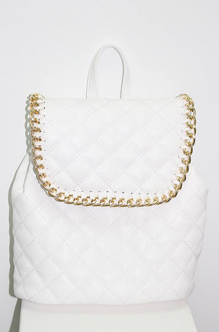 Nila Anthony Handbags - Quilted White Backpack with Gold Chain Straps - Cimiche