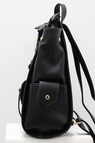 Nila Anthony Handbags - Black Moto Jacket Style Backpack - Cimiche