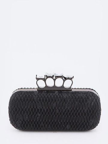 Iconic Textured Crystal Knuckle Clutch in Black - Cimiche
