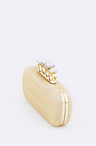 Iconic Textured Crystal Knuckle Clutch in Champagne - Cimiche