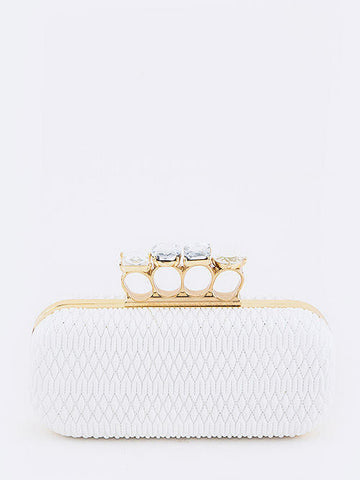 Iconic Textured Crystal Knuckle Clutch in White - Cimiche