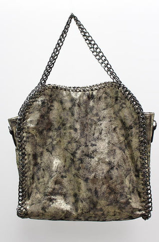 Distressed Metallic Gold Tote - Cimiche