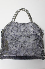 Distressed Metallic Silver Tote - Cimiche