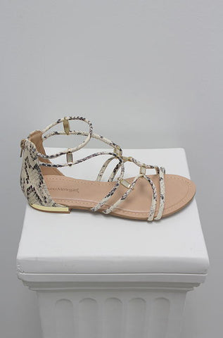 Bruno Menegatti - Snakeskin Sandals in Off White - Cimiche
