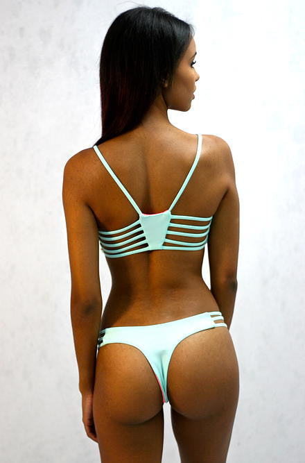 Green & Peach Reversible Bathing Suit Bottom