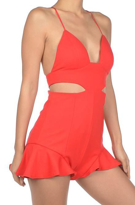 Luxxel - Ruffled Hem Red Romper with Cut Out Side Detail - Cimiche