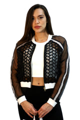 Black Collection -  Bomber Jacket in Black with White Accents - Cimiche