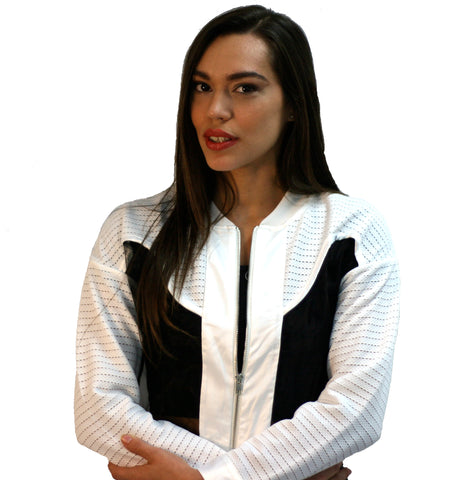 Black Collection - Bomber Jacket in White and Black - Cimiche