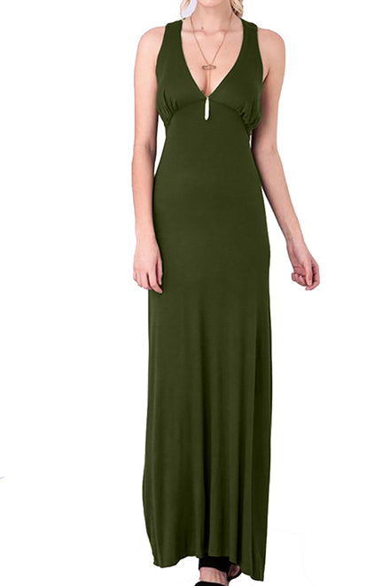 Blue Blush - Olive Maxi Dress with Black and White Trim Straps - Cimiche