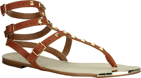 Bruno Menegatti - Studded Gladiator Leather Tan Sandals - Cimiche