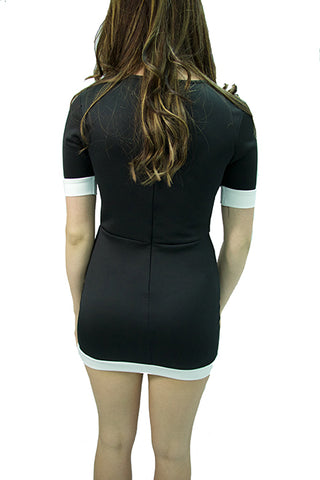 Black Mini Dress with White Cap Sleeve - Cimiche