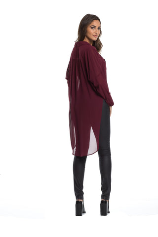 Elan - Long Sleeve Sheer Top with Criss Cross Front in Burgundy - Cimiche