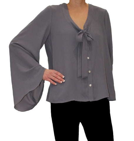 Elan - Blue Grey Bell Sleeve with Button Top