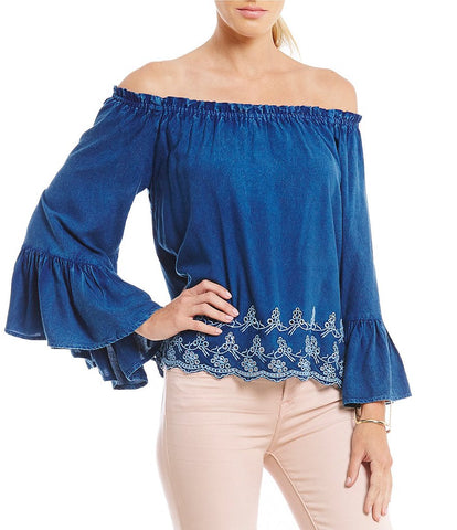 Elan Women's Off the Shoulder Bell Sleeve Top in Denim - Cimiche