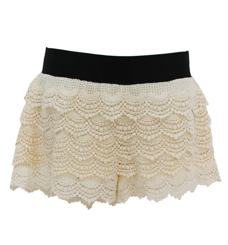 Elan - Beige Lace Shorts with Black Waistband - Cimiche