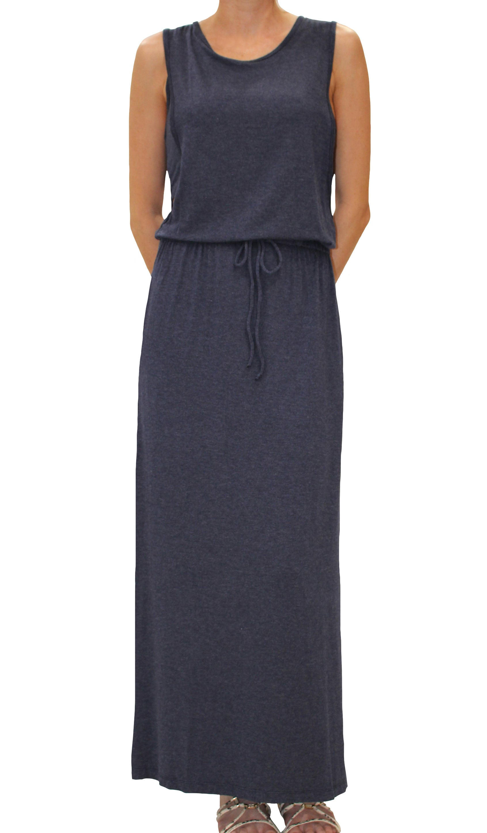 Elan Sleeveless Maxi Dress with Bandeau in Blue