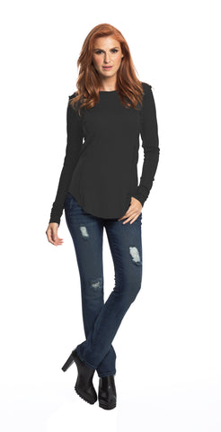 Elan - Black Crew Neck Top - Cimiche