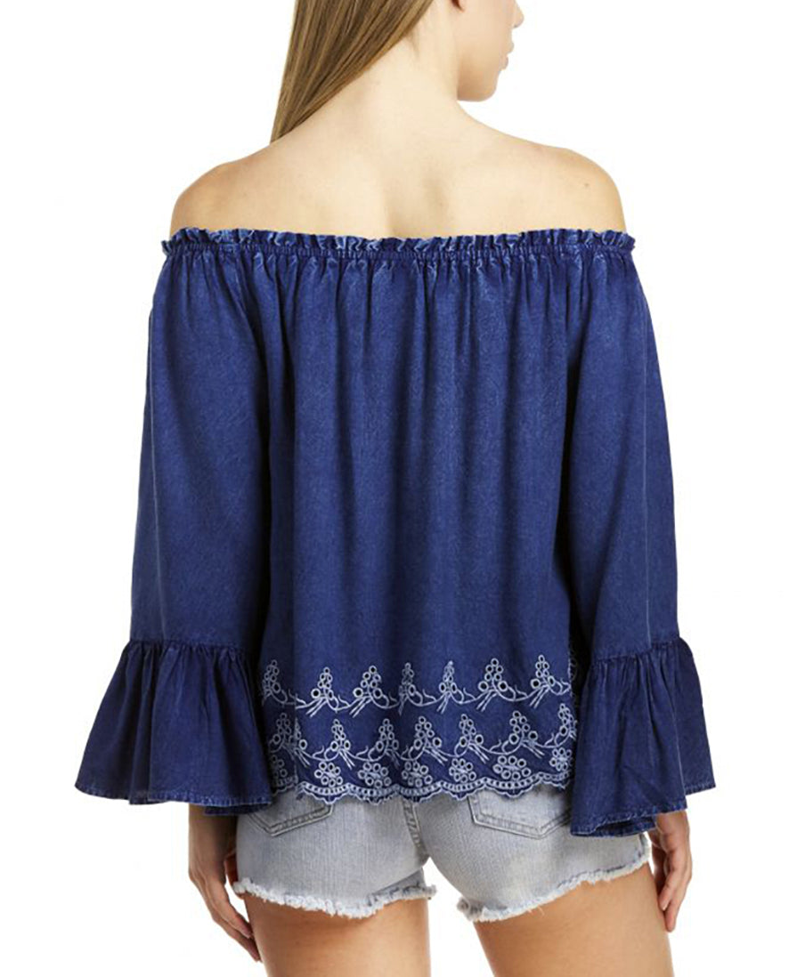 Elan - Off the Shoulder Bell Sleeve Top in Denim - Cimiche