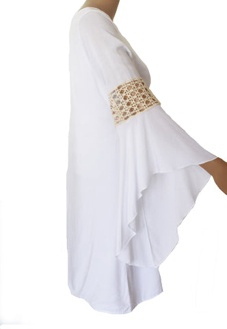 Elan White Long Sleeve Dress with Crochet Sleeve Panel - Cimiche