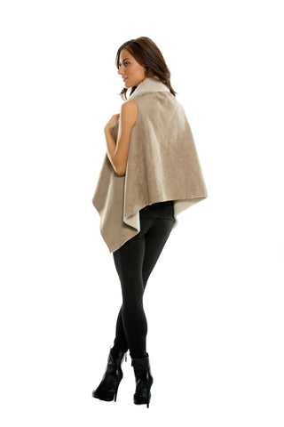 Elan Women's Faux Shearling/Suede Vest with a Soft Woolly Feel Lining