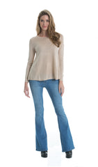 Elan Sweater with Pleated Chiffon Back in Oatmeal - Cimiche