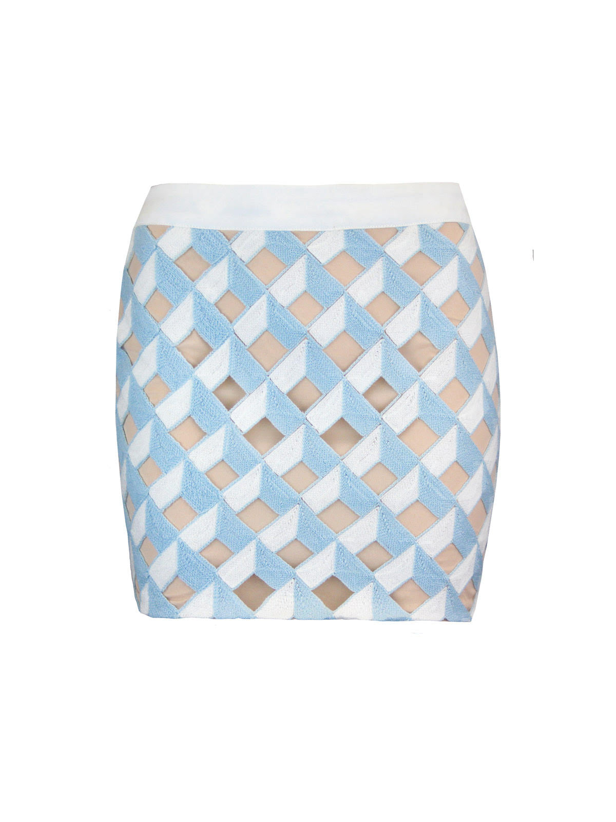Endless Rose  Crochet Overlay Geo Mini Skirt in White and Baby Aqua over Tan