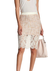 English Factory  Lace Trim Peach Multicolor Skirt