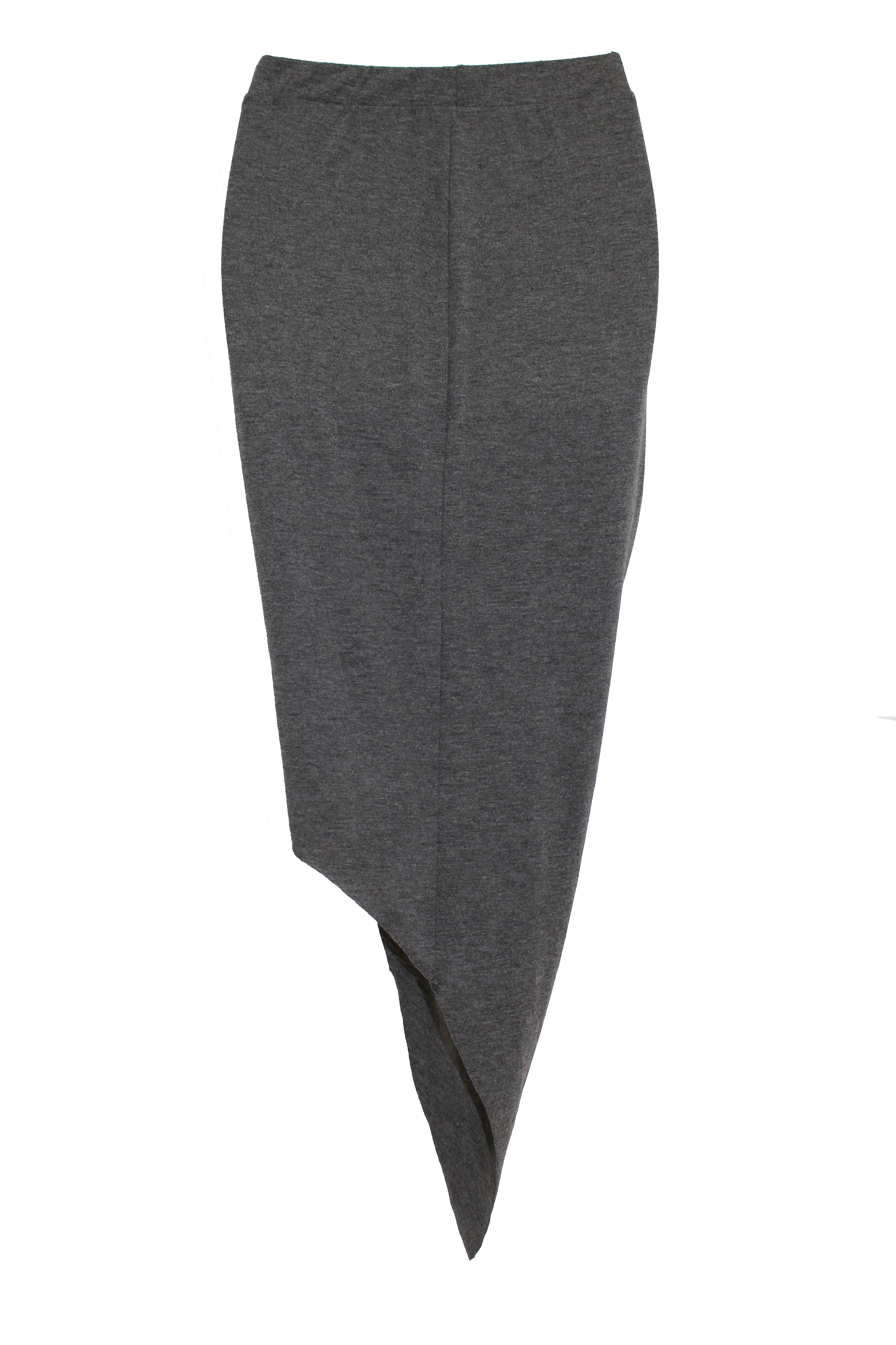Hommage - Twisted Hi Low Charcoal Skirt - Cimiche