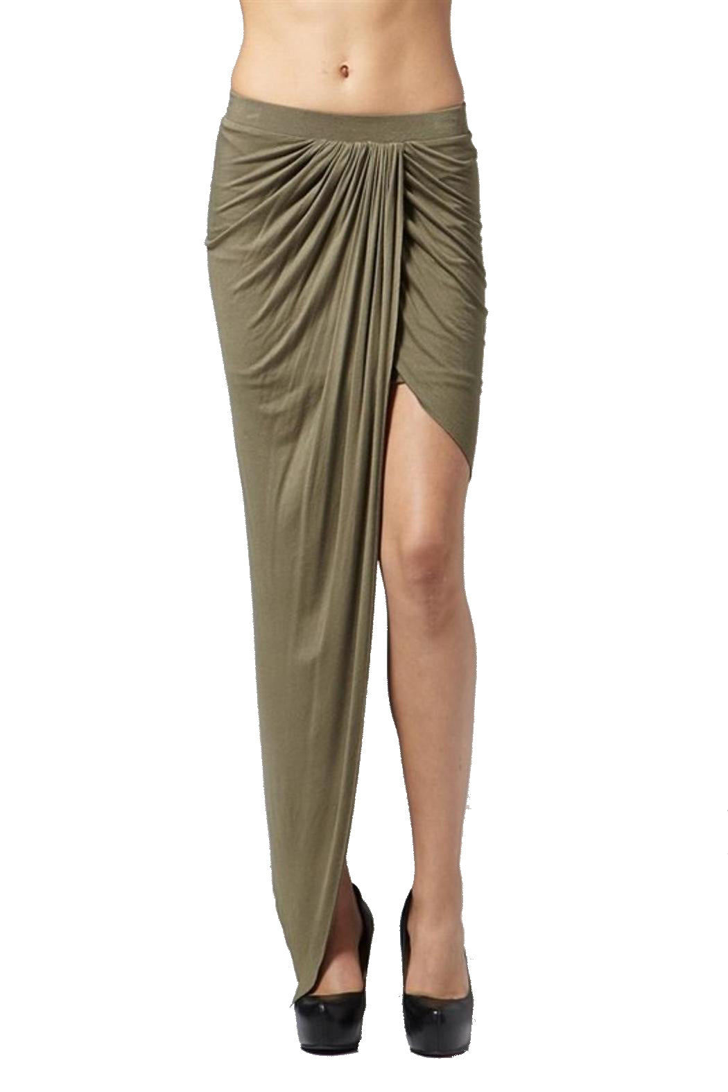 Hommage Twisted Hi Low Olive Skirt - Cimiche