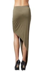 Hommage - Twisted Hi Low Olive Skirt - Cimiche
