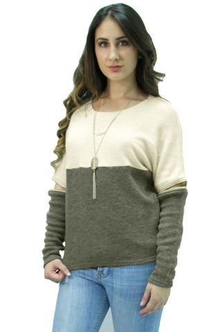 Hommage - Two Tone Olive & Cream Long Sleeve Sweater - Cimiche